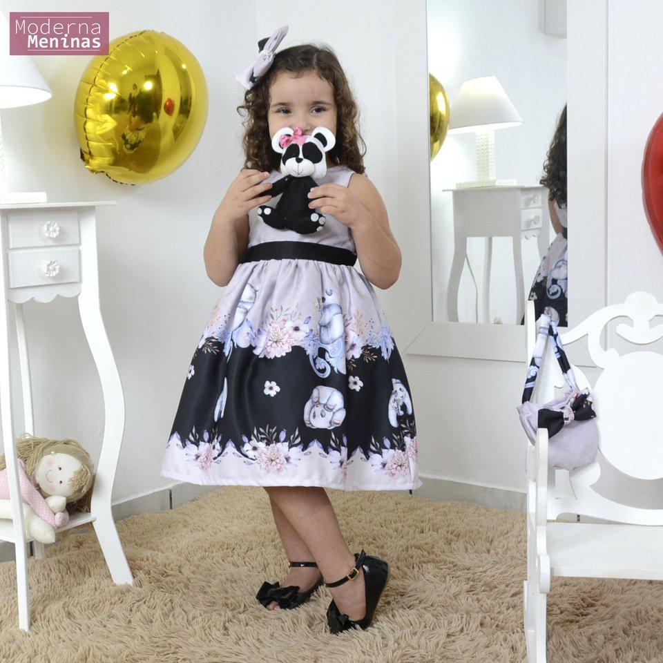Vestido festa infantil tema urso panda