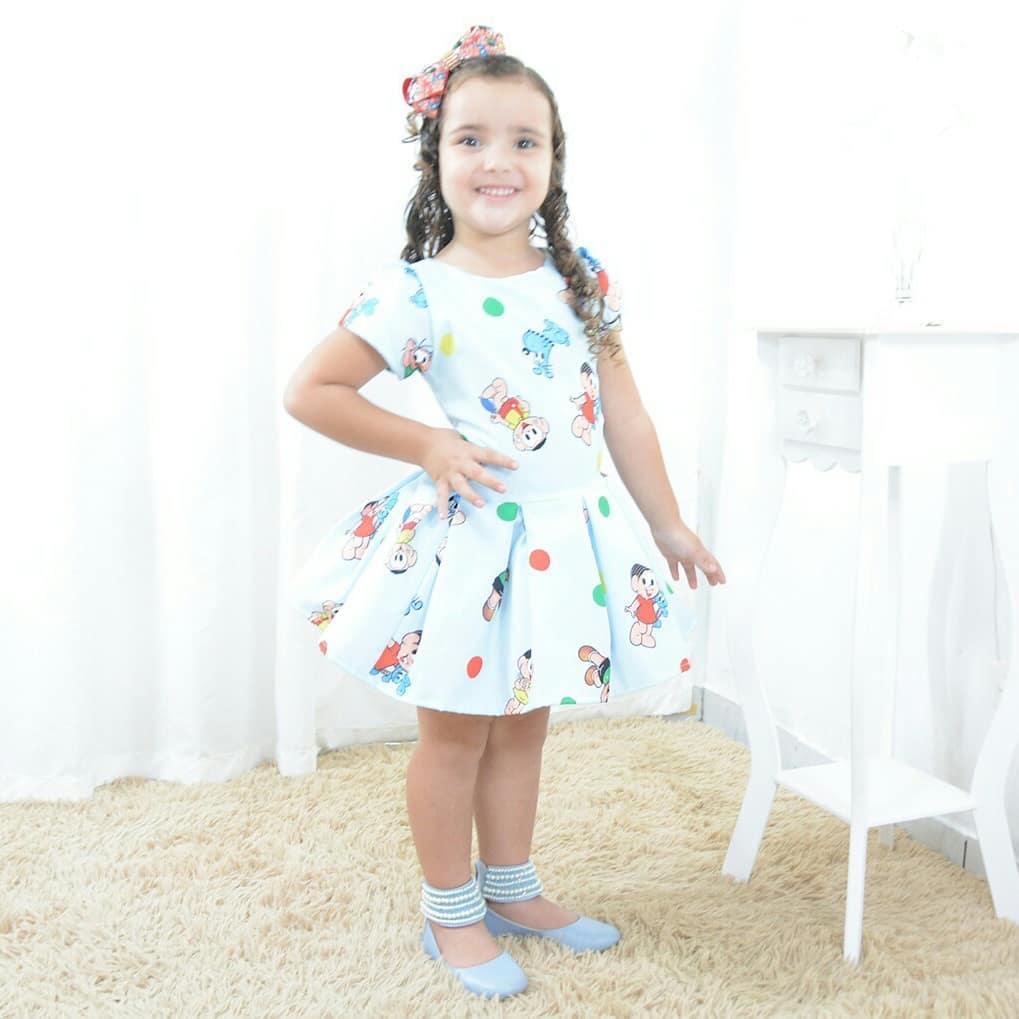 Vestido infantil turma da Mônica, Magali, Cebolinha, Cascão e Bidu