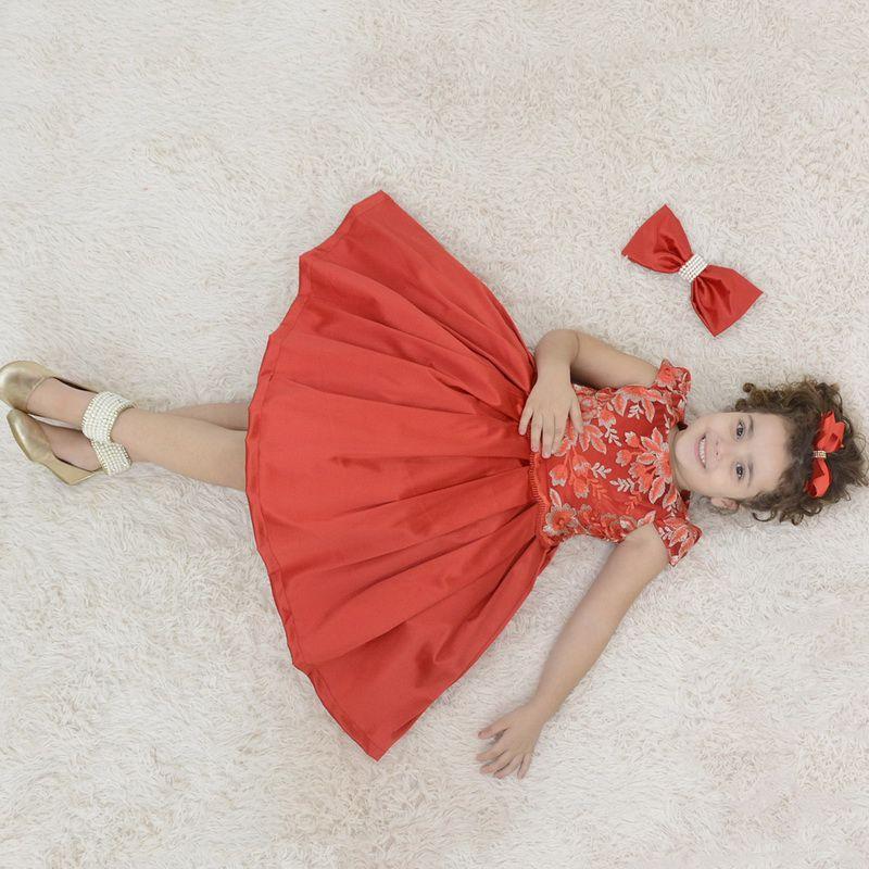 Vestido festa infantil vermelho com tule francês com bordado floral