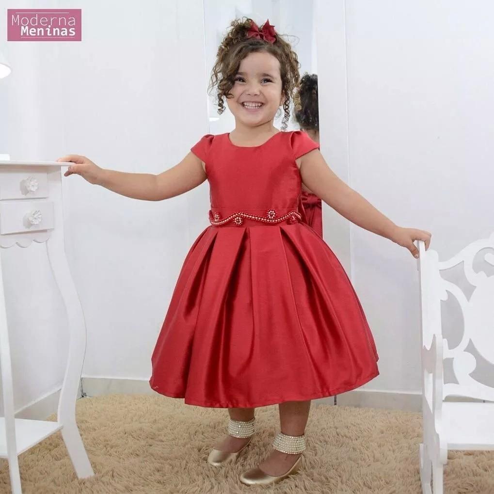 Vestido festa infantil vermelho rubi com bordado
