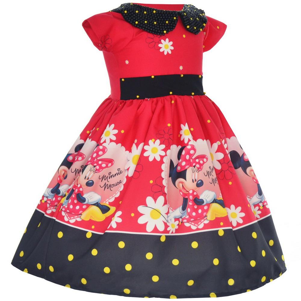 Vestido Festa Minnie Vermelha Luxo