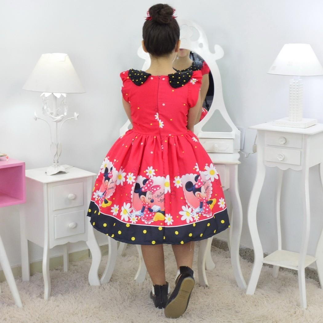 Vestido Minnie Vermelha Luxuoso Com Bolsa e Pelúcia