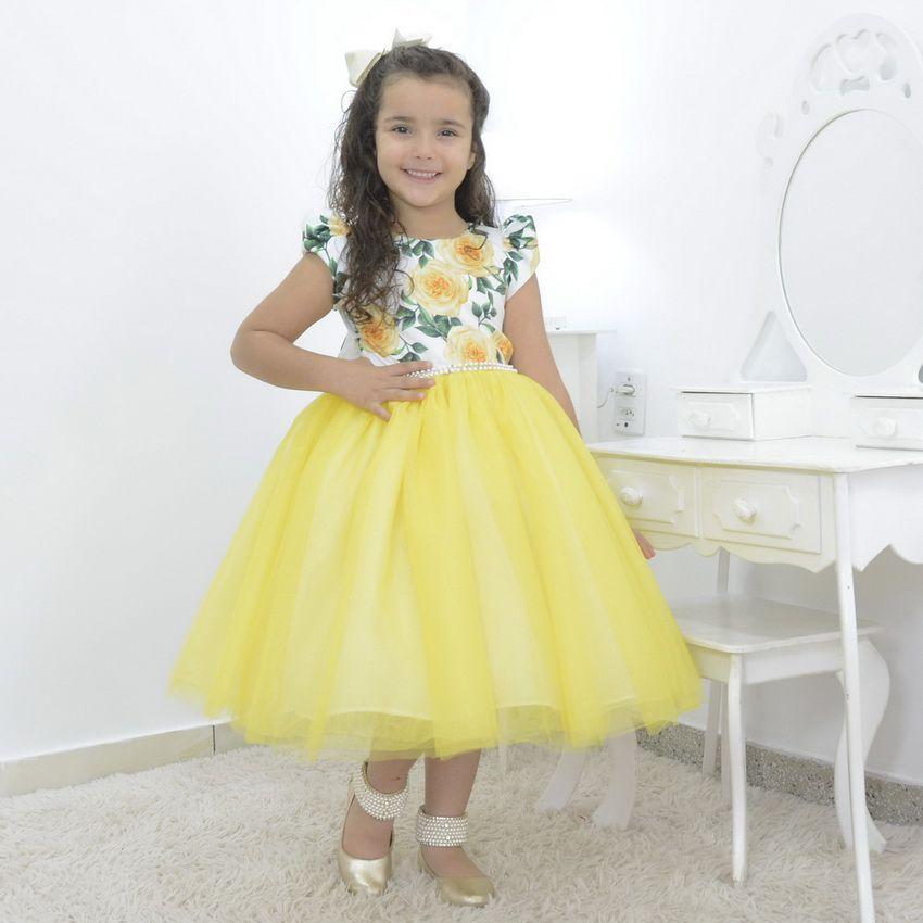 Vestido Floral infantil com saia de tule amarela