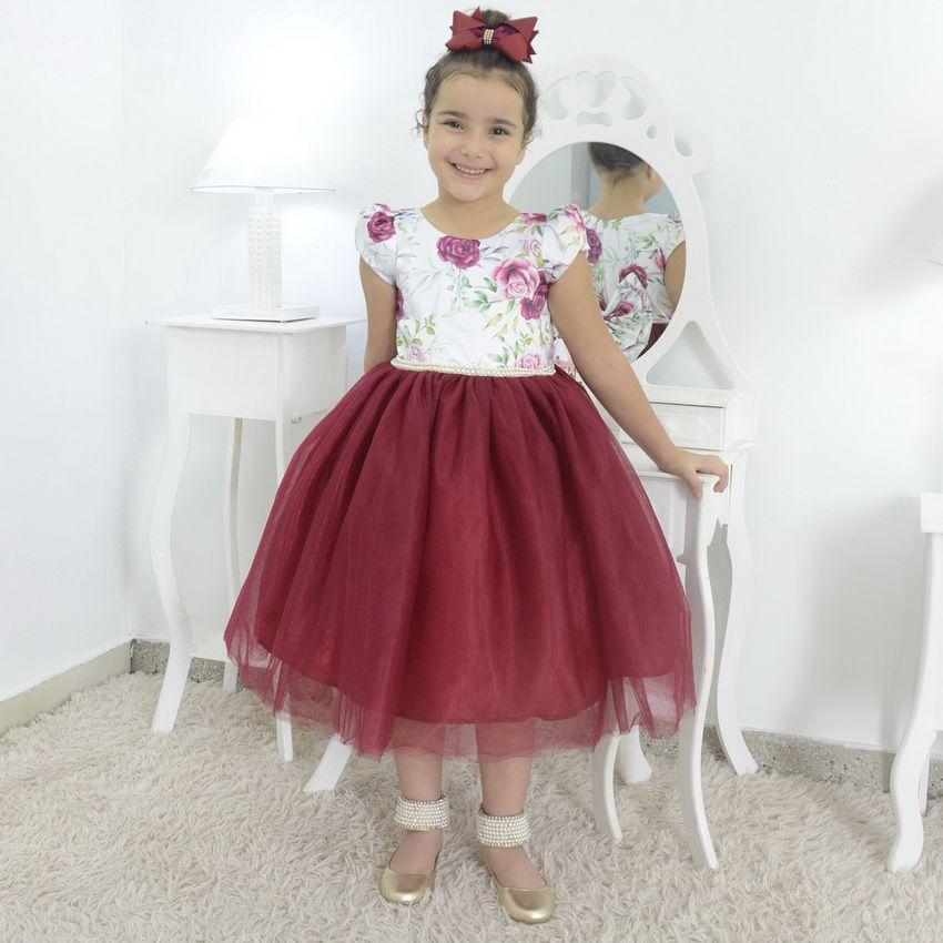 Vestido Floral infantil com saia de tule marsala