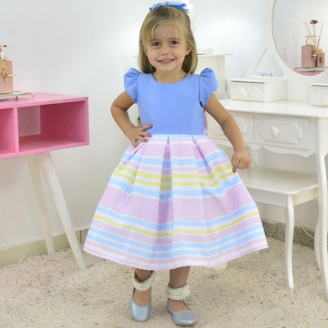 Vestido Formatura Infantil Corpo Azul e Saia Listrada