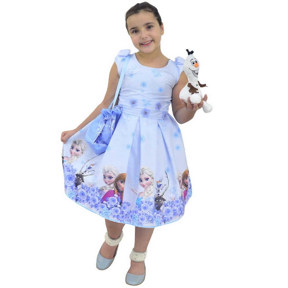 Vestido Frozen Elsa e Anna e Bolsa Com Pelúcia do Olaf