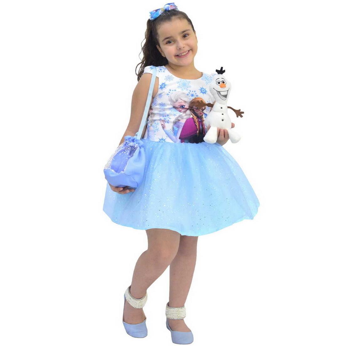 Vestido Frozen Glíter Com Bolsa e Pelúcia do Olaf
