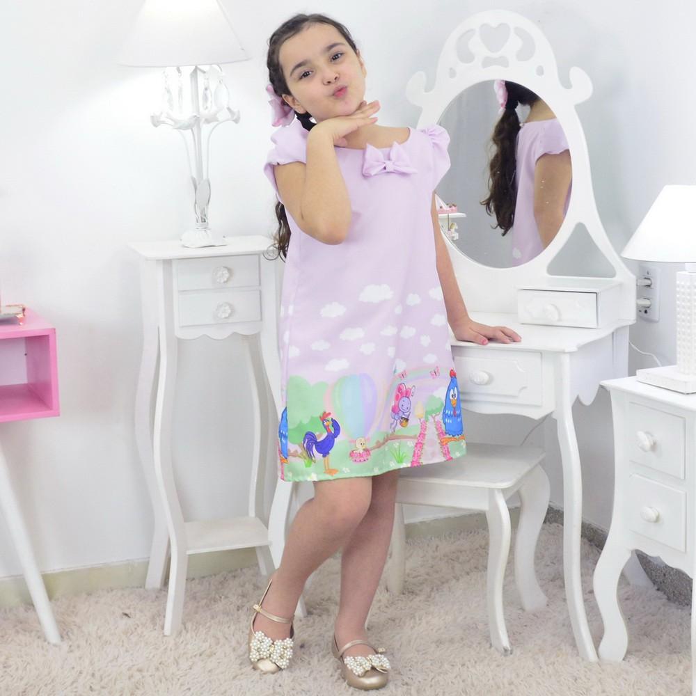 Vestido Galinha Pintadinha Com Bolsa e Pelúcia