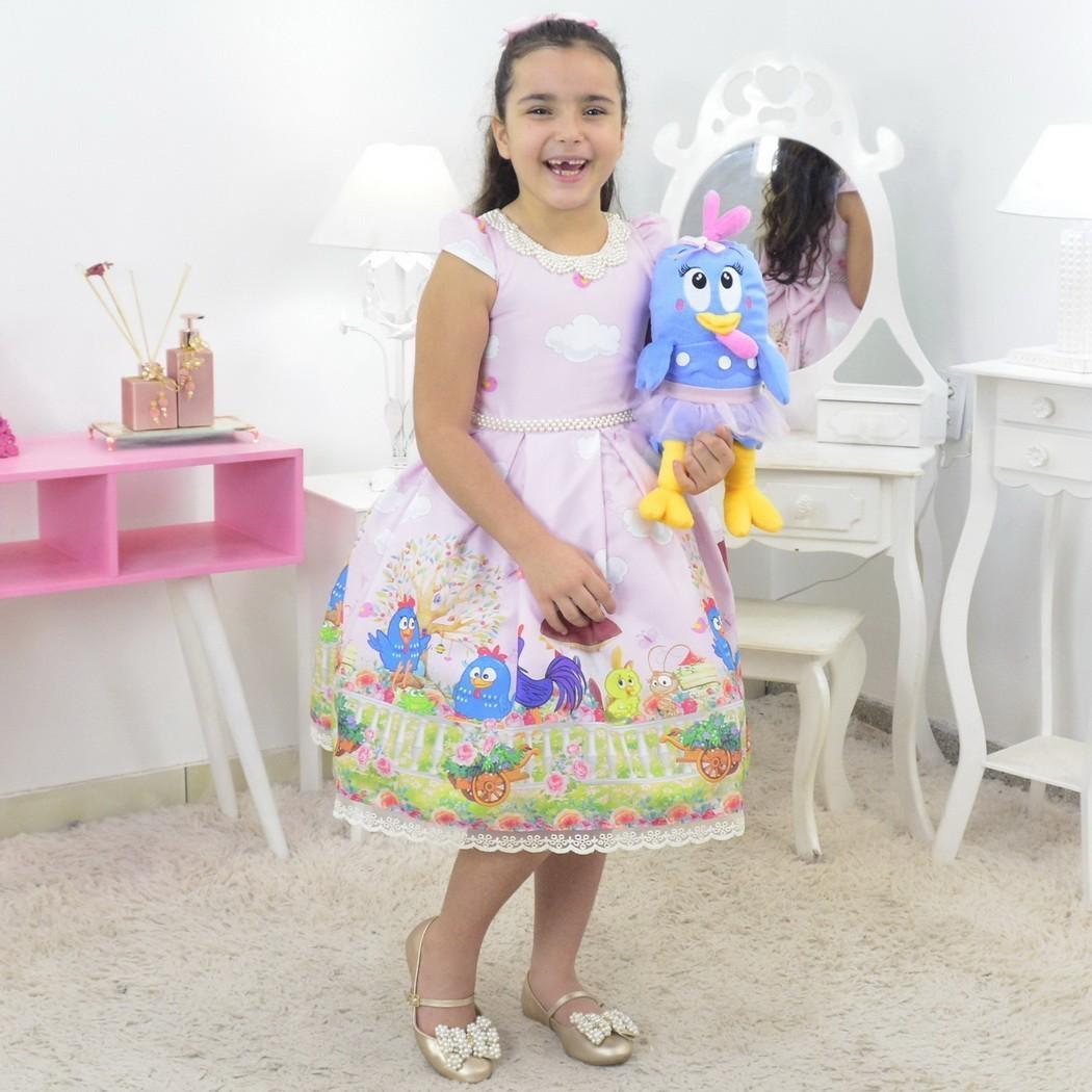 Vestido Galinha Pintadinha Com Pelúcia