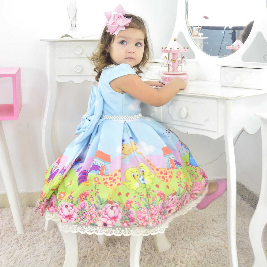 Vestido Galinha Pintadinha Luxuoso Azul