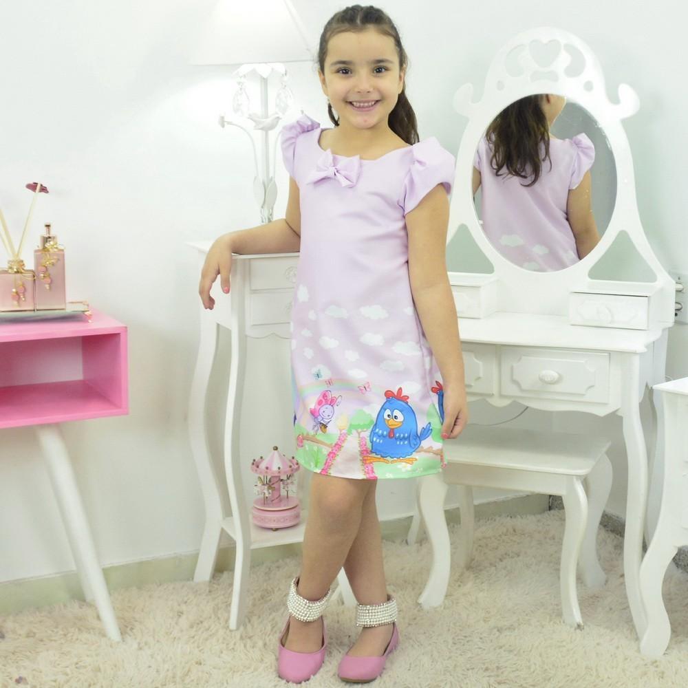 Vestido Galinha Pintadinha Rosa Trapézio