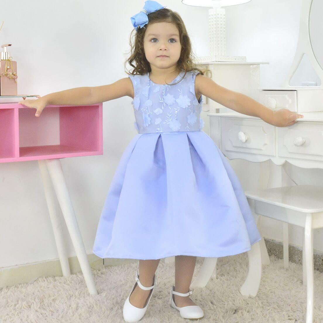 Vestido infantil Azul Bebê Formatura - Menina 6 Meses a 10 anos