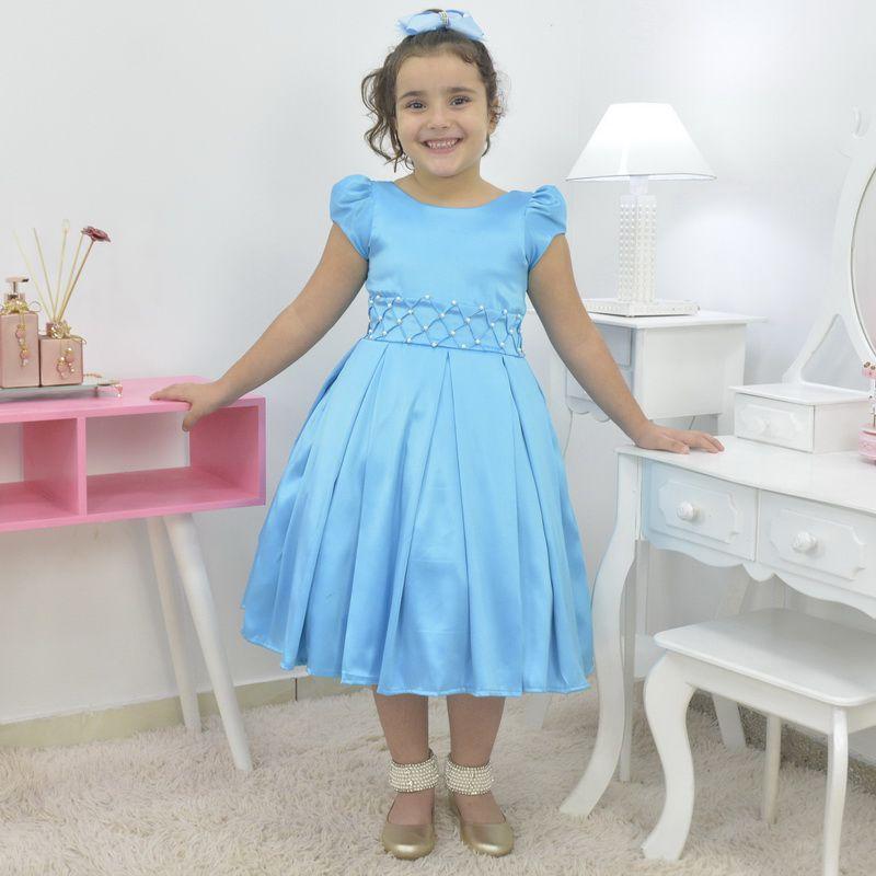 Vestido infantil azul capri com bordado em pérolas
