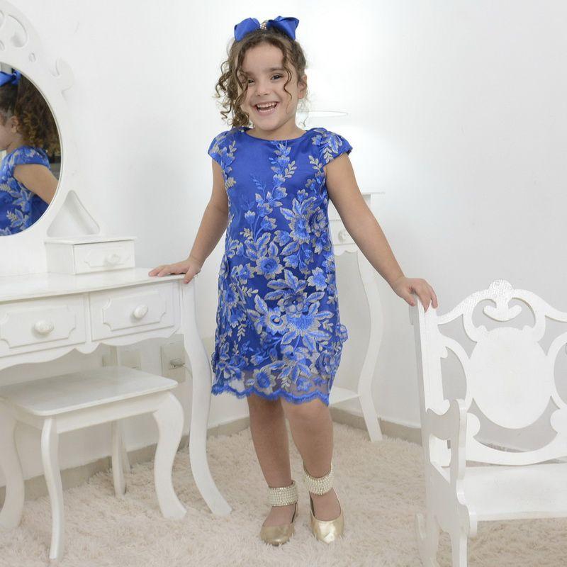 420e25d3c Vestido infantil azul com tule francês bordado modelo trapézio - Moderna  Meninas ...