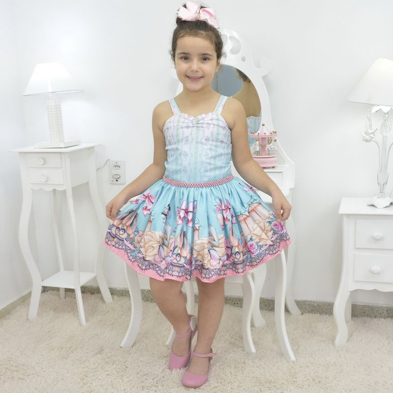 Vestido infantil bailarina azul e rosa com borboletas