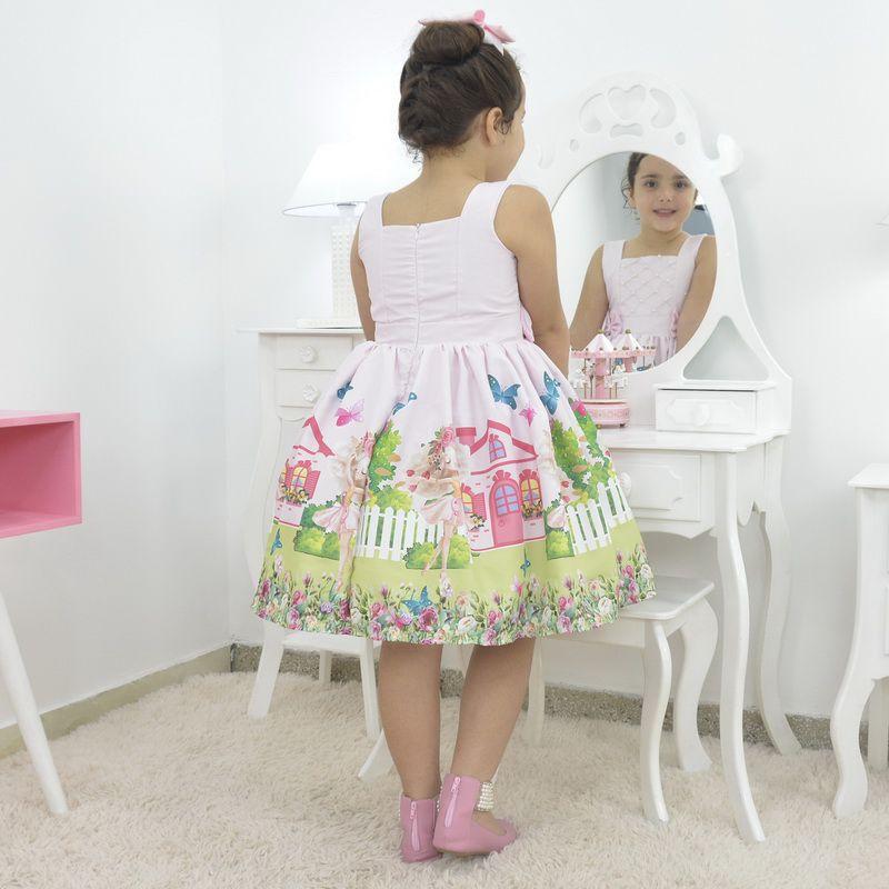 Vestido infantil bailarina rosa no jardim encantado