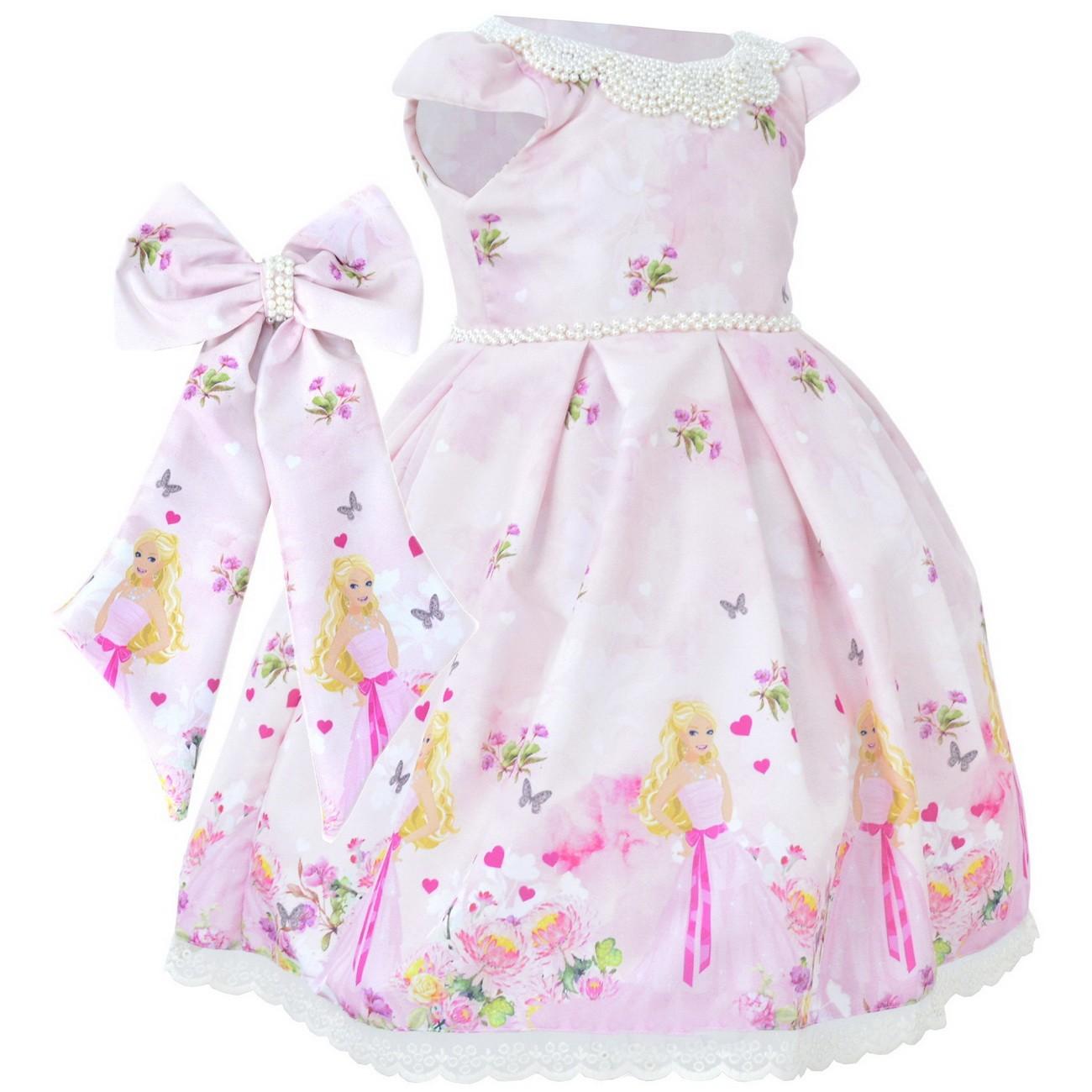 Vestido Infantil Barbie Rosa Luxuoso