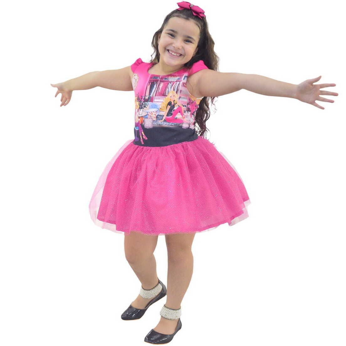 Vestido Infantil Barbie Saia Rosa de Tule Com Glitter