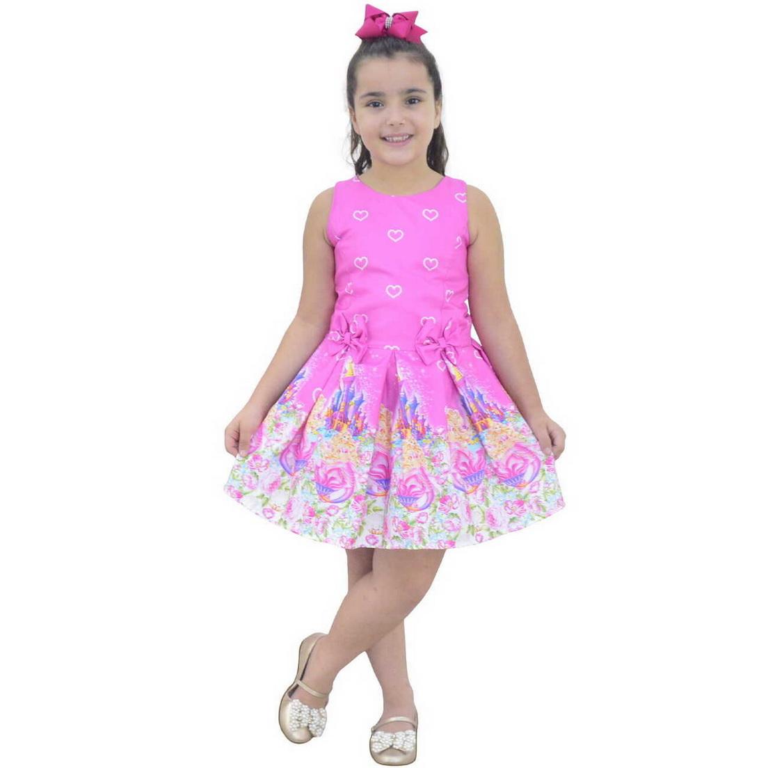 Vestido Infantil Barbie Sereia Rosa