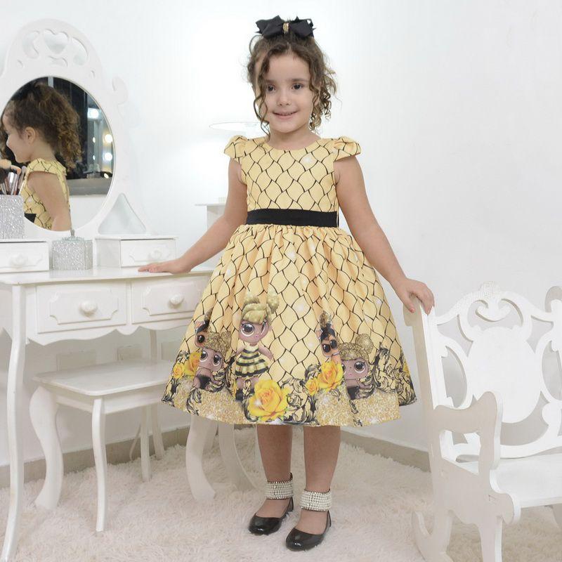 Vestido infantil boneca Lol Queen Bee abelhinha
