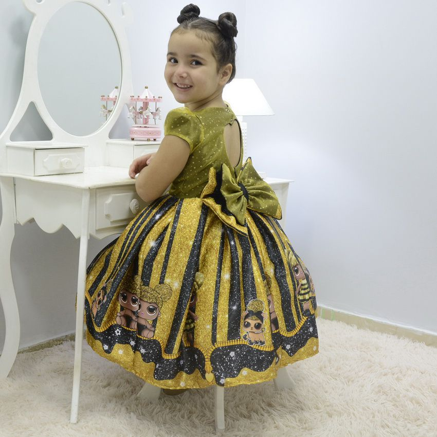 Vestido infantil Lol Queen Bee abelhinha glitter na parte superior
