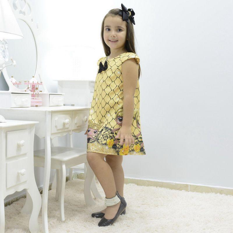 Vestido infantil boneca lol queen bee abelhinha - tubinho trapézio