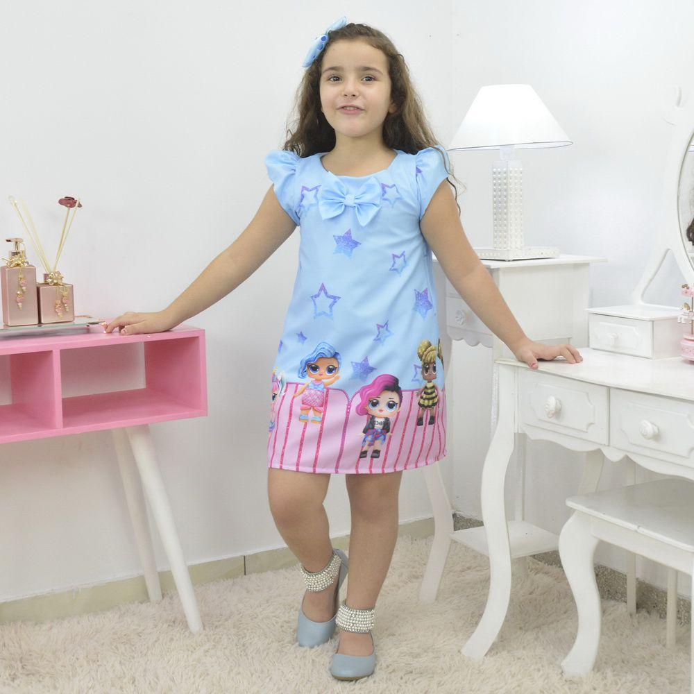 Vestido infantil bonecas Lol surprise azul trapézio