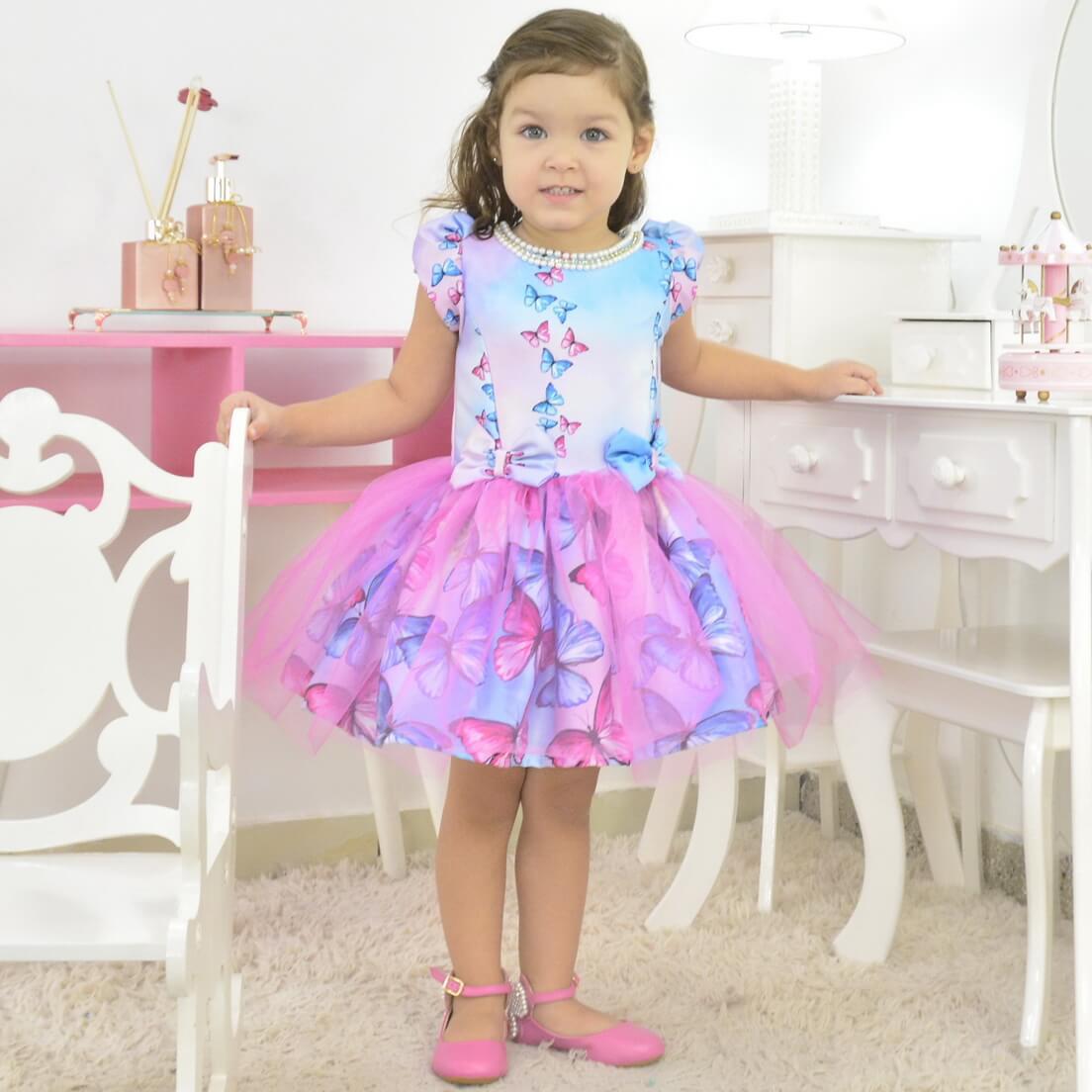 Vestido infantil Borboletas Rosas e Azuis Com Saia de Tule