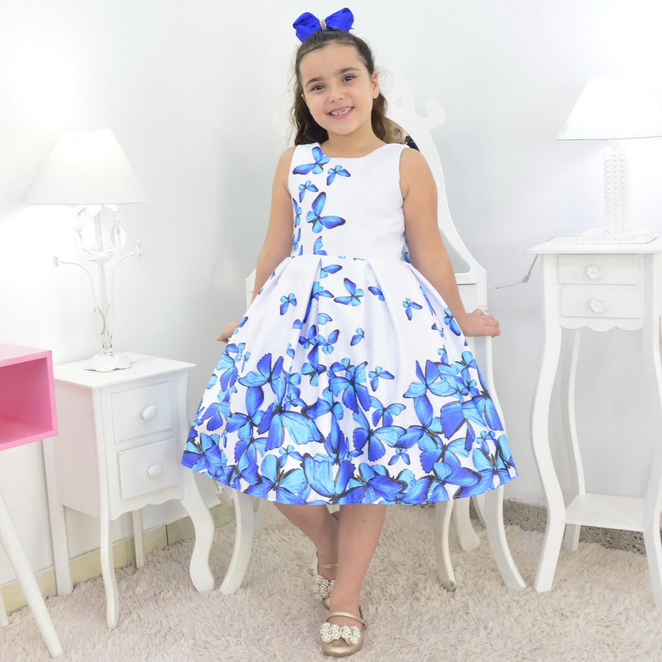 Vestido Infantil Branco Com Borboletas Azuis