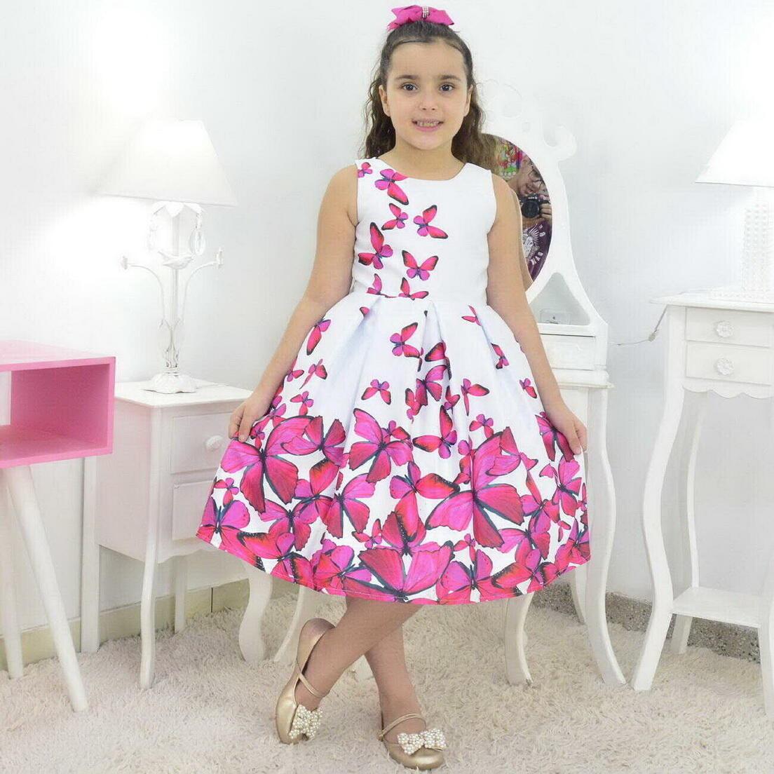 Vestido Infantil Branco Com Borboletas Rosas Pink