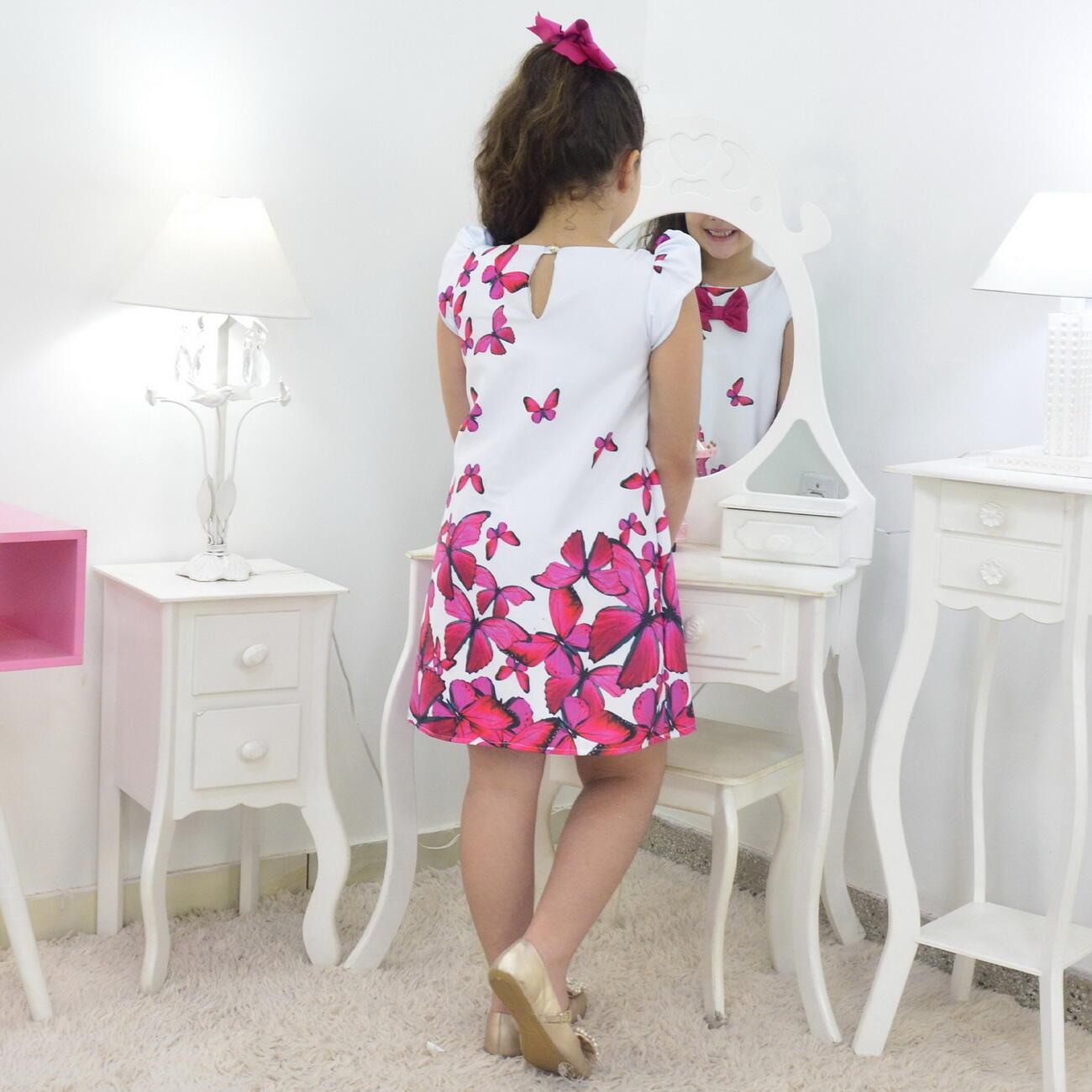 Vestido Infantil Branco Com Borboletas Rosas Pink - Trapézio