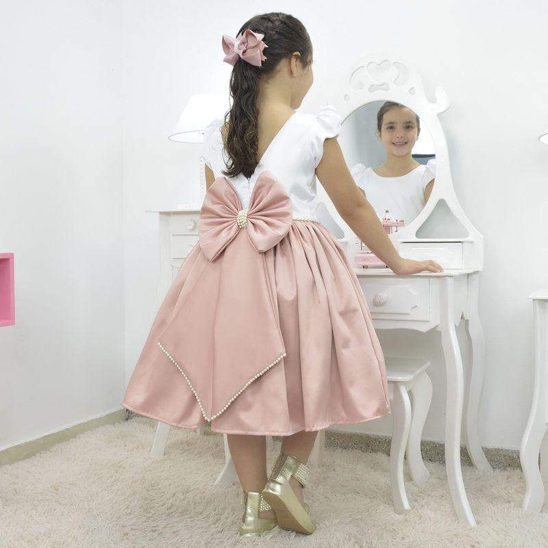 Vestido infantil branco com rosa seco - Bordado na cintura