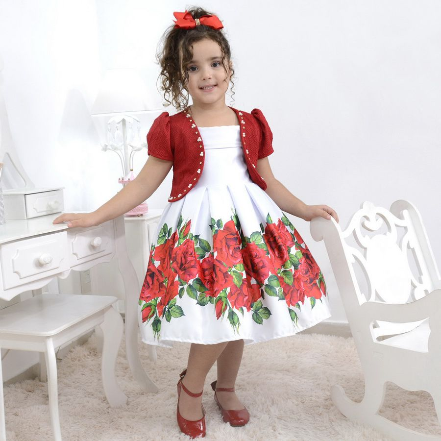 Vestido infantil branco com rosas vermelhas e bolero opcional