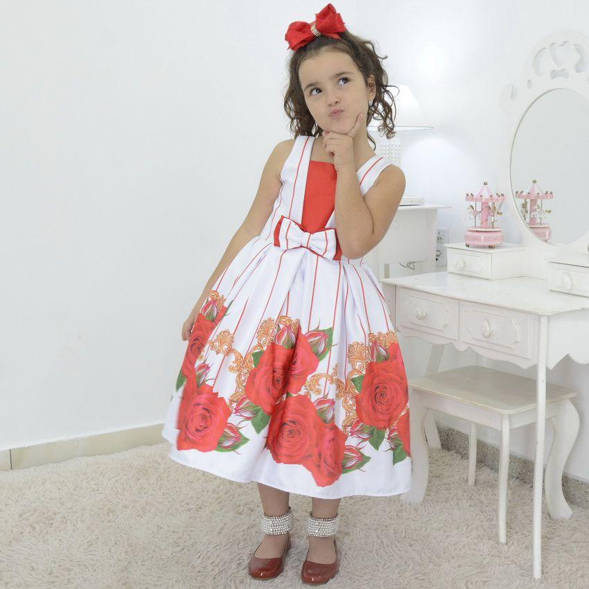 Vestido Infantil branco floral com rosas vermelhas