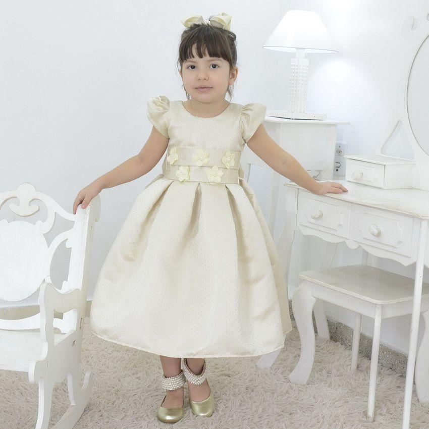 Vestido infantil champagne festa marfim