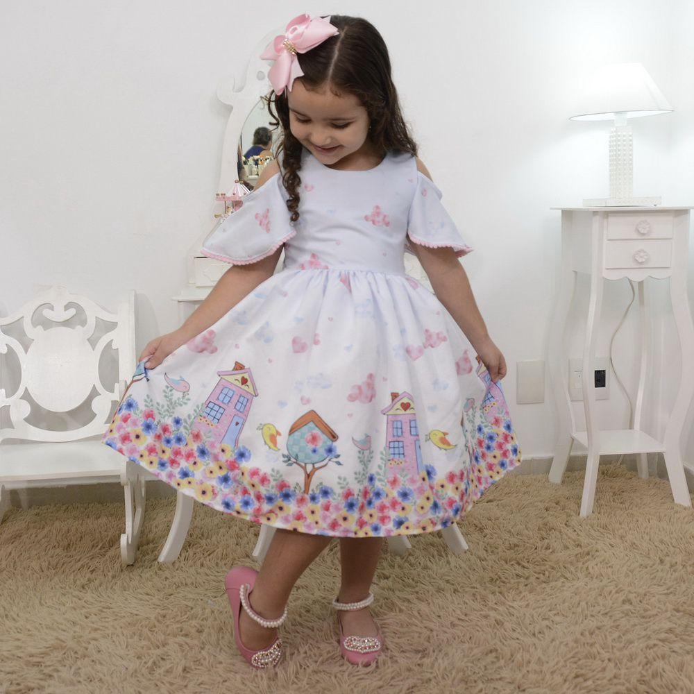 Vestido infantil chuva de amor jardim encantado com pássarinhos