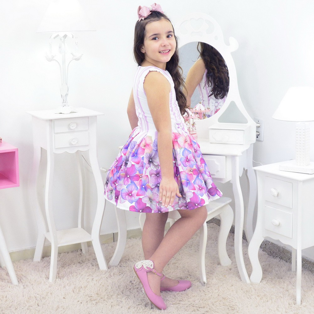 Vestido Infantil com Flores Lilás e Rosa Seco
