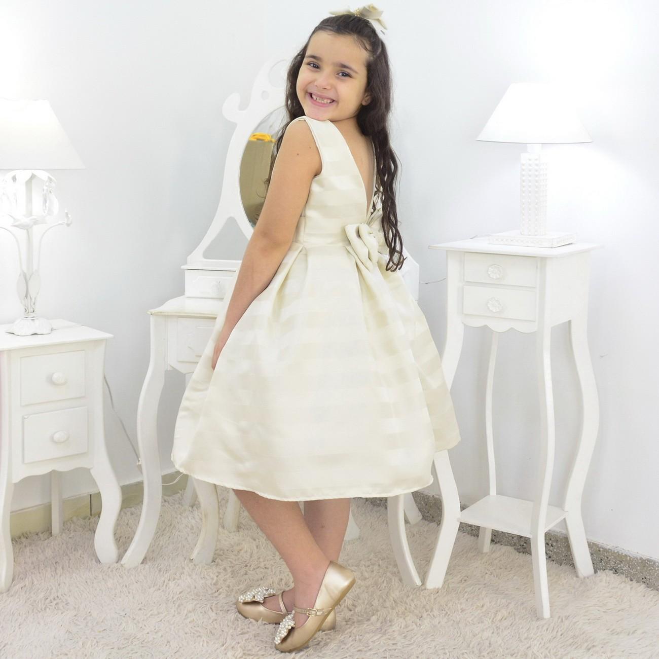 Vestido infantil Bege Off