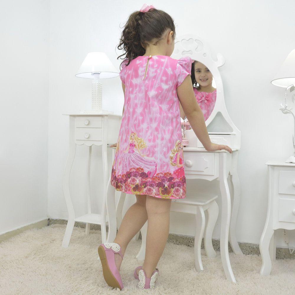 Vestido infantil da Barbie princesa na cor rosa