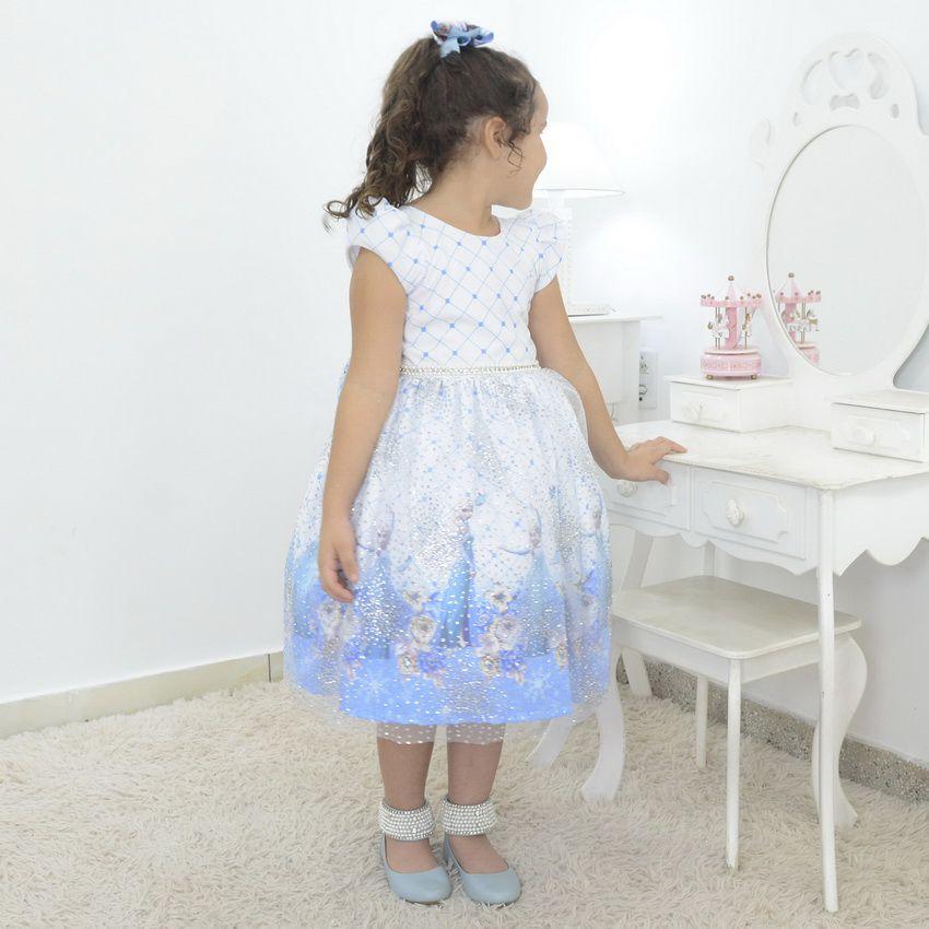 Vestido infantil tema Elsa - Frozen com tule francês e glitter