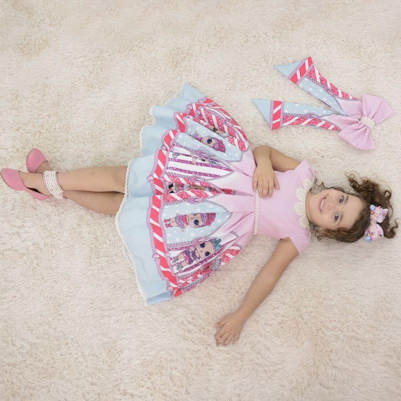 Vestido infantil da Lol Surprise rosa com bordados em perolas