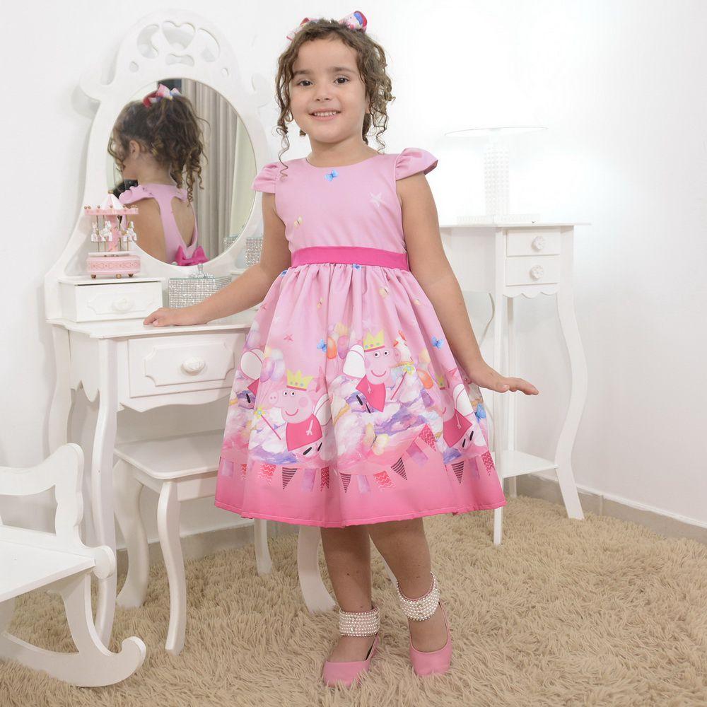 Vestido infantil da Peppa Pig rosa