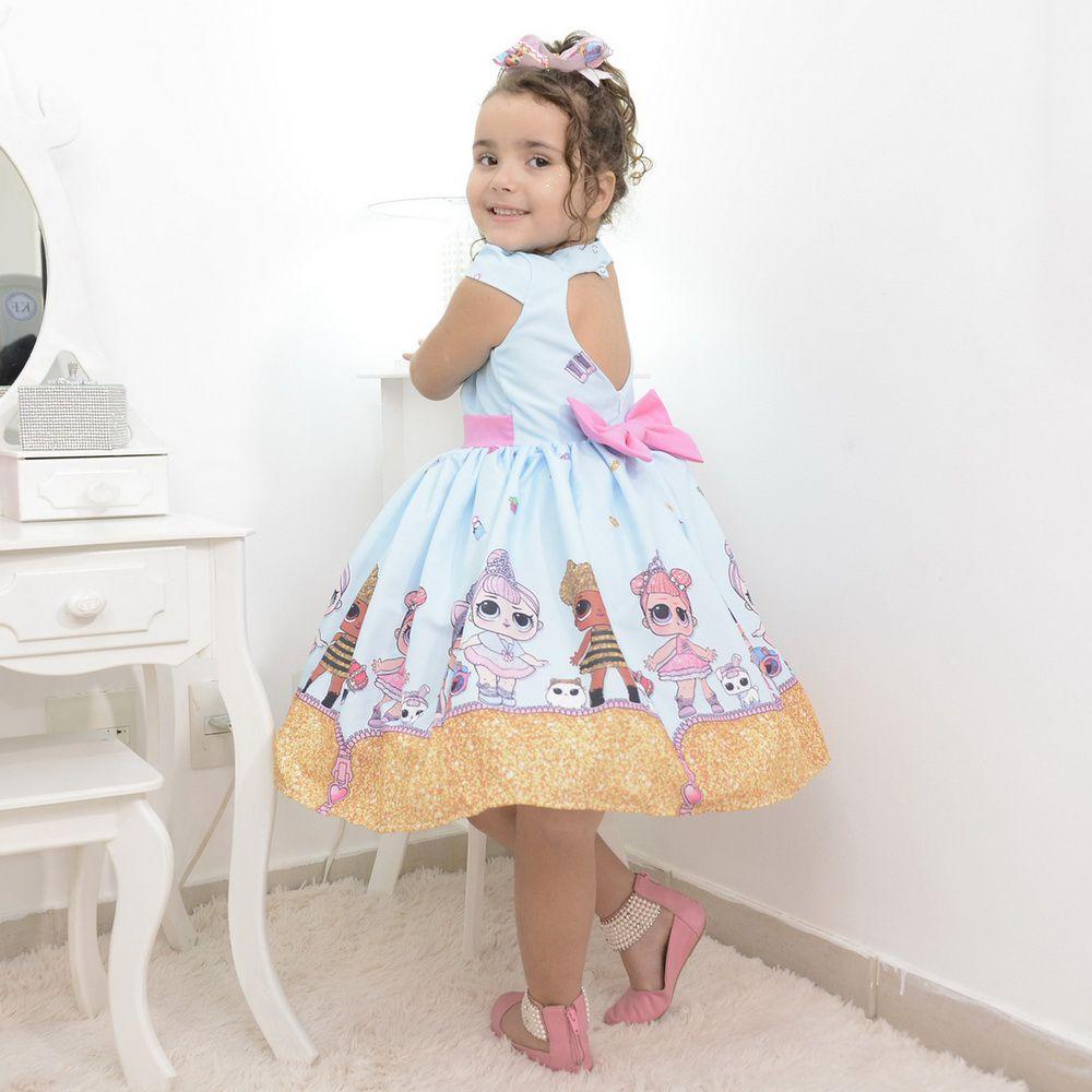 Vestido infantil das bonecas Lol surprise glitter confetti azul