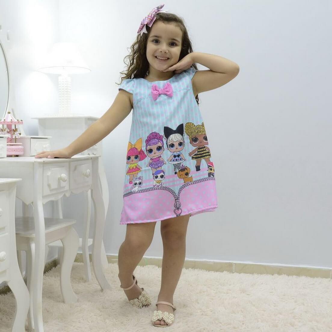 Vestido infantil das mínis bonecas Lol surprise - fashion