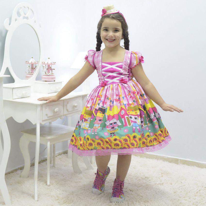 Vestido infantil de Festa Junina e Quadrilha -  Lol Surprise Rosa