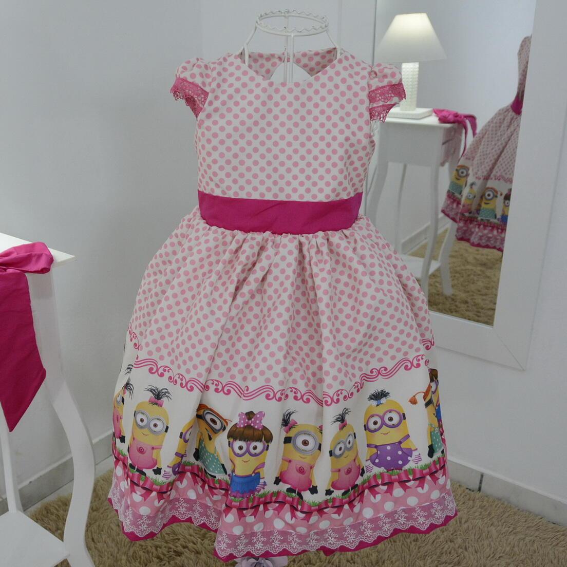 Vestido infantil dos Minions com laço superluxo