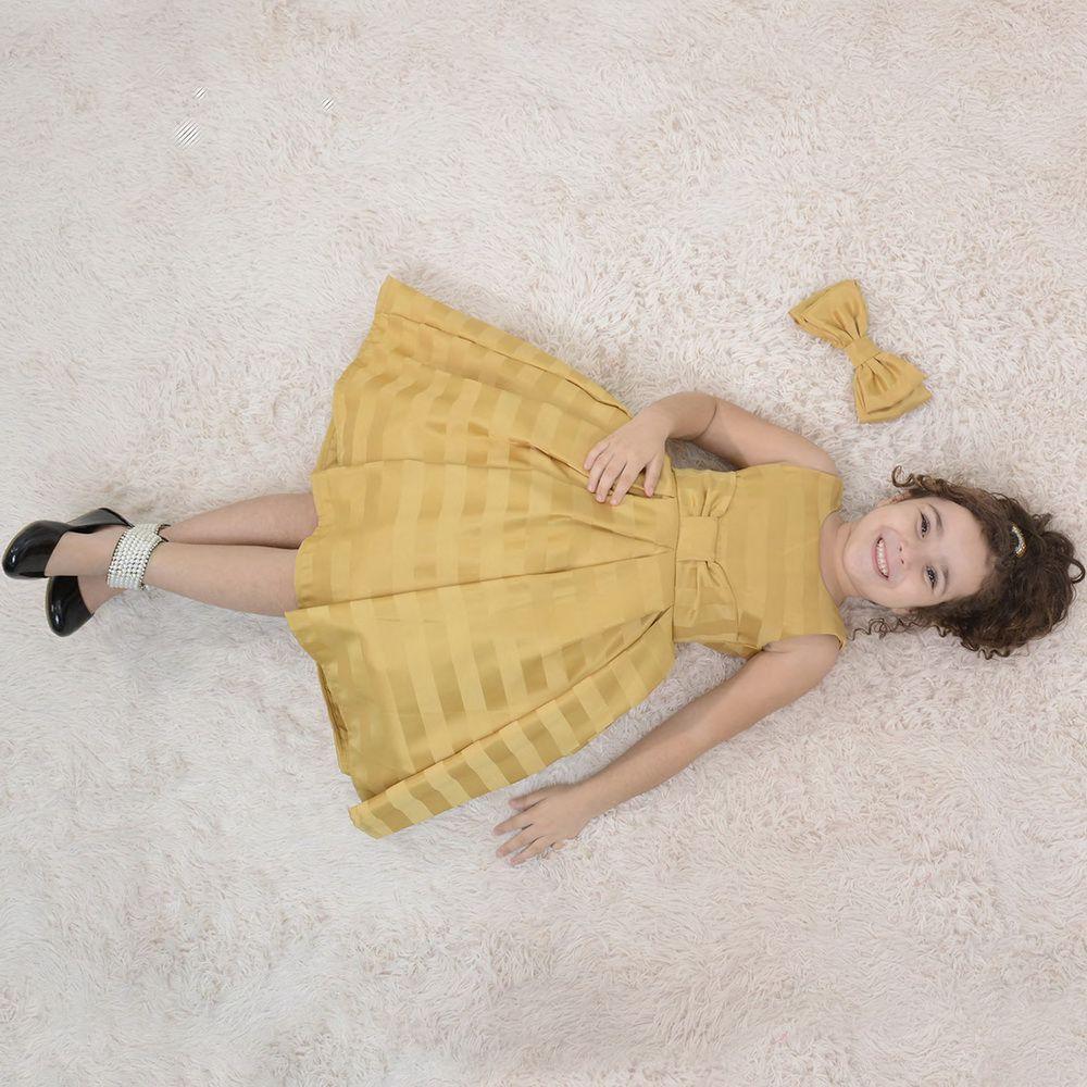 Vestido infantil festa amarelo ouro