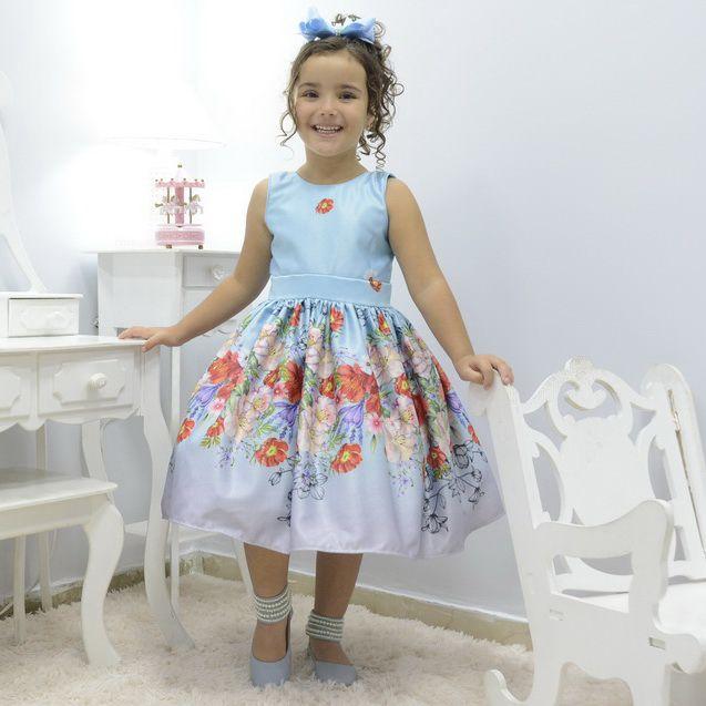 Vestido infantil festa azul com rosas e flores
