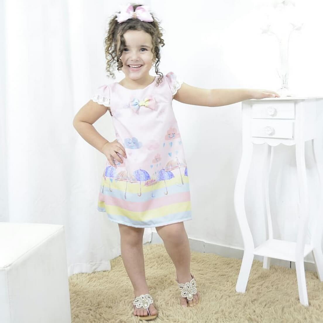 Vestido infantil festa chuva de amor e bênçãos - tubinho trapézio