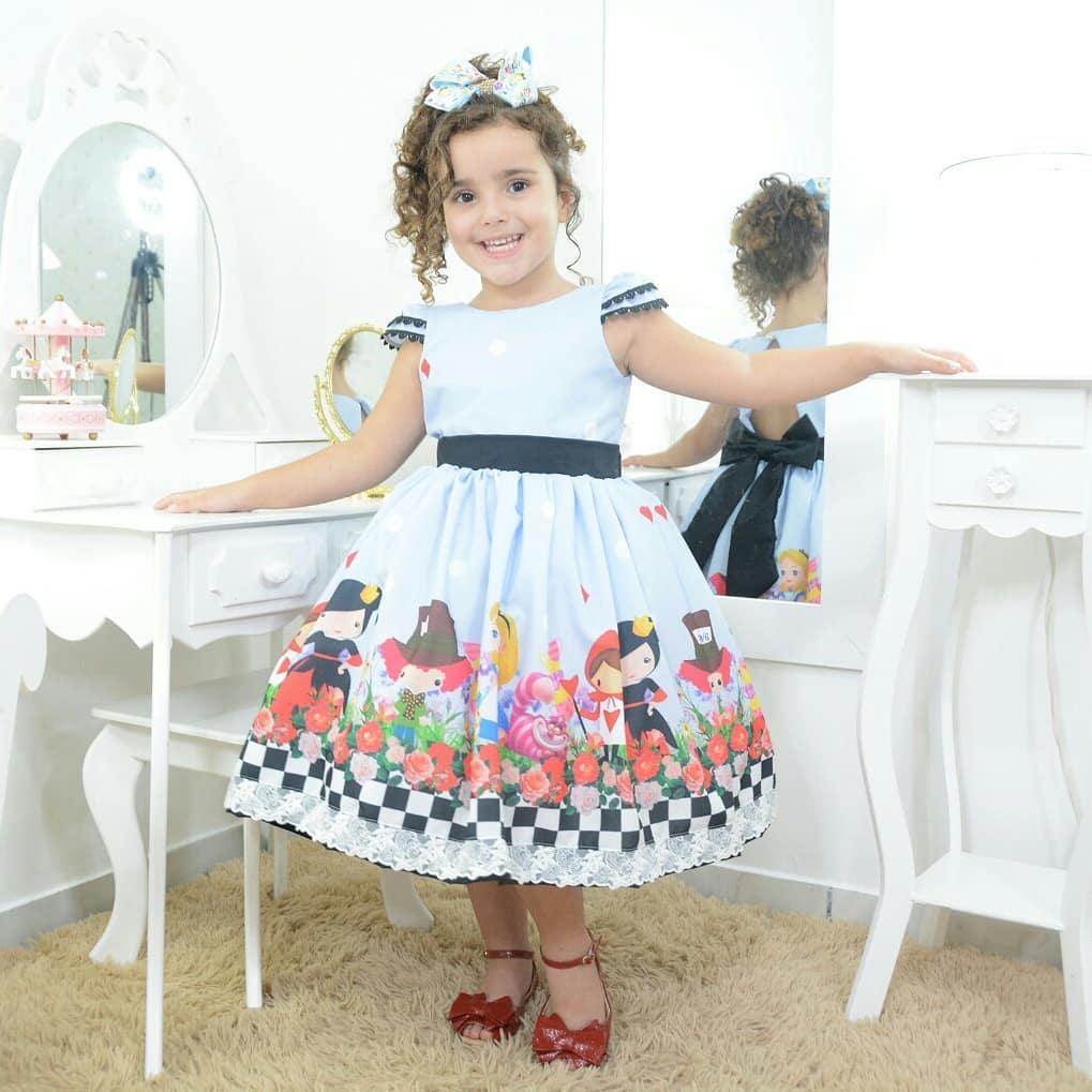 Vestido infantil festa da Alice no País das Maravilhas superluxo